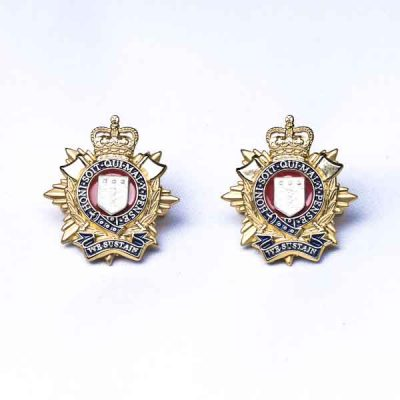 RLC Officers Metal Collar Badges