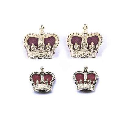 Gold Metal Crowns with Velvet Cushion Clutch & Pin (pair)
