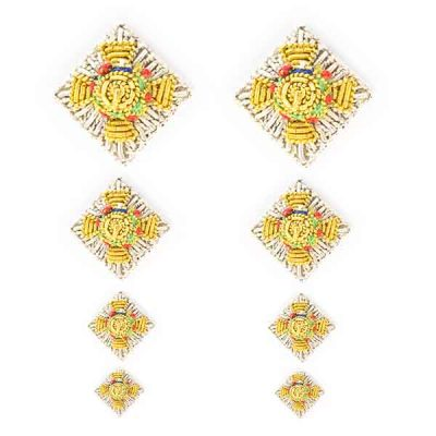 Embroidered Silver Rank Stars (pair)
